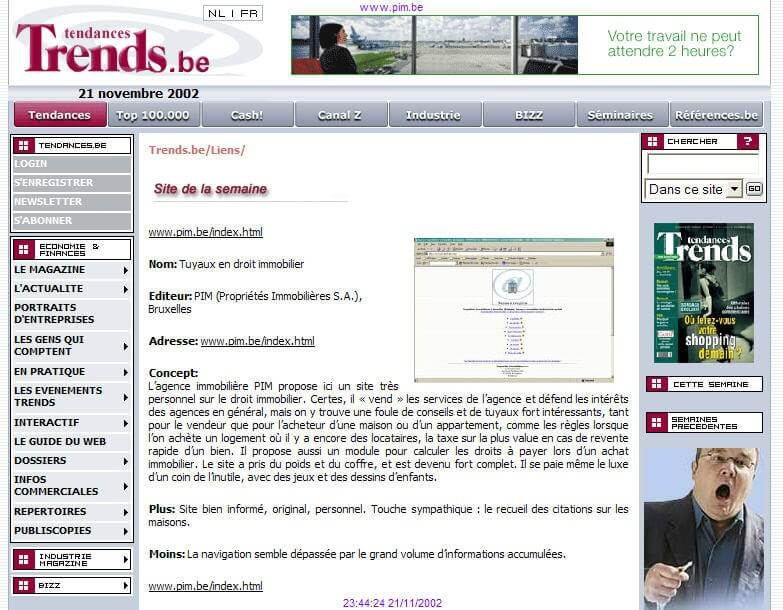 PIM: élu site de la semaine (21 novembre 2002) par le magazine économique Trends